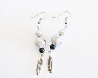 Geometric gray Bohemian fancy earrings