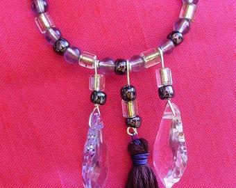 Hoop earrings, pendants, tassels and glass beads