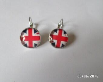 earrings, glass cabochon, English flag