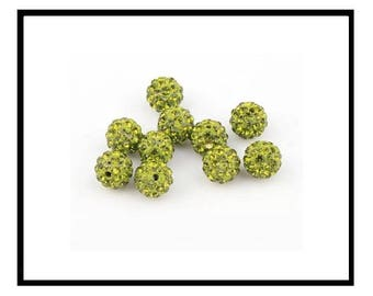 X 10 10mm rhinestone Crystal shamballa beads, Khaki green/olive green.