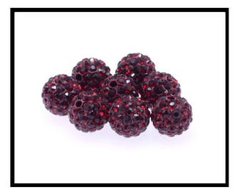 X10 perles shamballa cristal strass 10mm, rouge bordeaux.