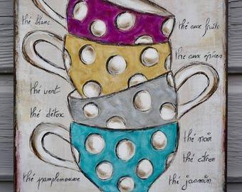 Art painting unique colorful contemporary tea bowls