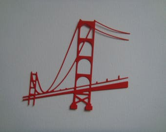 Cut red bridge for scrapbooking and card
