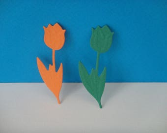 Set of 2 orange and green tulips for creation