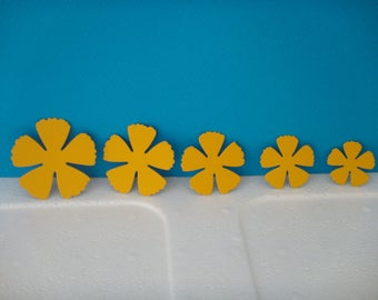 Set of 5 petals flowers dark yellow for scrapbooking and card