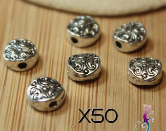 """50 spacer beads """"ethnic pattern"""" antique silver-plated A24"""