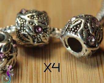 4 beads European charms silver metal with pink rhinestones for bracelet or necklace European A31
