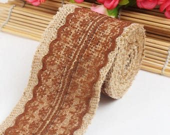 1 meter Ribbon canvas of burlap and Brown lace