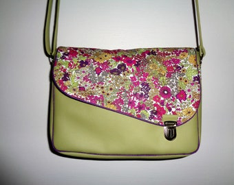Faux green leather satchel bag liberty on the flap.