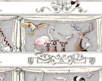 Fabric, animals, bears, chickens, monkeys, giraffe, exotic, tropical, birds, Thévenon
