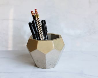 """Concrete Metallic Geode Pot - Geometric Pencil Holder or Planter - 4"""" Tall - Faceted Diamond Shape - Rose Gold, Copper or Champagne Gold"""