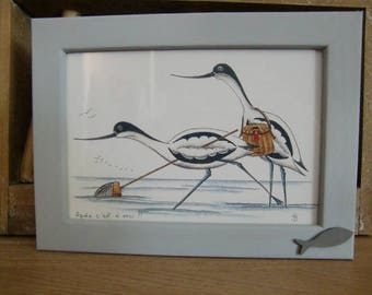 """Humorous frame """"birds of the Bay"""""""
