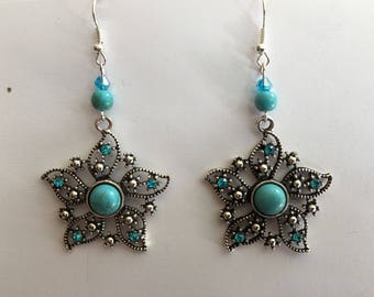 Earrings ethnic connectors silver turquoise beads fashion supports blue rhinestone silver