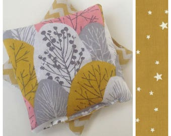 Dry pocket to the organic flax seeds, spirit heater Scandinavian trees pink and graphic fabric