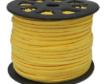 2 yards cord suede 3 mm x 1.5 mm yellow straw