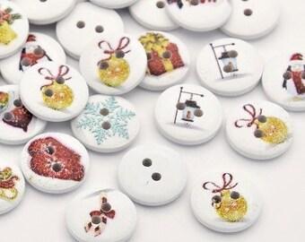 set of 10 wooden 13 mm 2 holes nine Christmas motif buttons