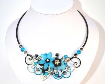 Necklace on turquoise and black cable (No. 13)