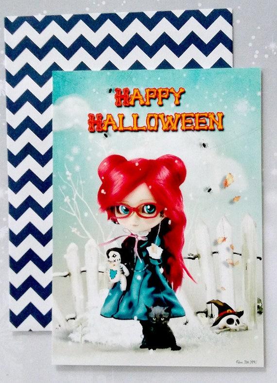 carte d 39 halloween format carte postale. Black Bedroom Furniture Sets. Home Design Ideas