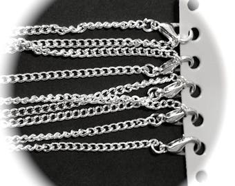 X 1 chain Choker NECKLACE of 46 cm with clasp in silver