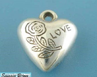 6 pendants heart 13 mm x 14 mm