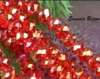 20 faceted Red Crystal 8 x 6 mm