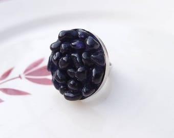 Mosaic big ring deep purple tone glass beads