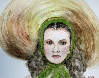 watercolor vivien leigh in gone with the wind