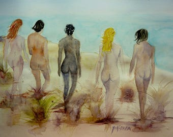 watercolor, naked women at the beach