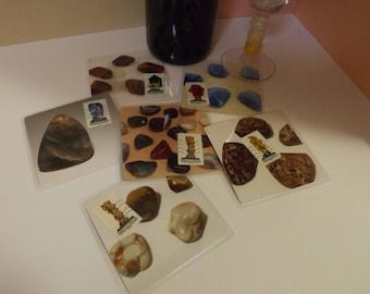 Dessous de verre plastifié - création originale - nouvelle collection - '' Les Minéraux '' par 6, support en bois offert
