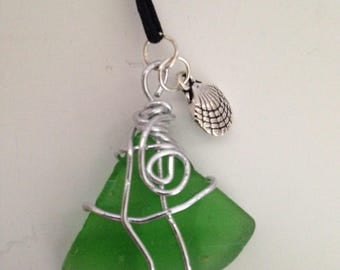 Green Sea-glass Wire Wrapped  Necklace