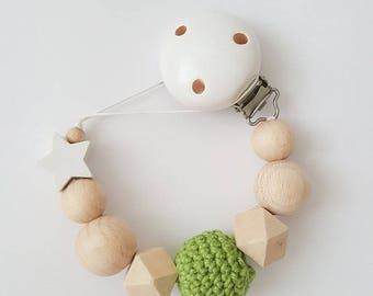 Handmade Natural Wood Pacifier Clip For Babies, binky clip, dummy clip, soother clip, baby gift, baby shower, wooden toy, natural baby gift