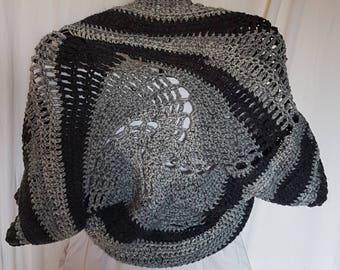 Nice spiral pattern bolero handmade crochet in shades of grey
