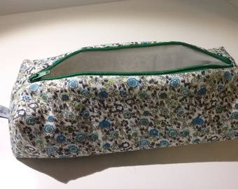 Turquoise green lined floral School Kit