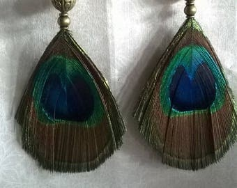 Bronze metal beads and Peacock feather earrings