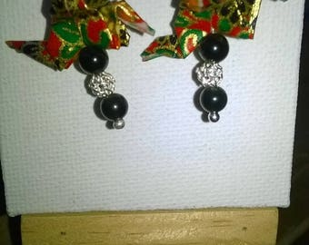 Earrings on silver Rainbow Obsidian, Chiyogami paper