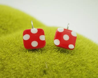 EARRINGS LUNA pattern ANDALOUSE red ans white dots in fimo