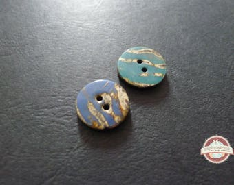 2 round black and blue 18mm Nepal bone buttons