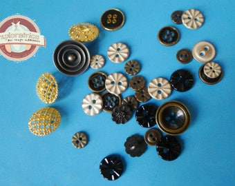 32 round buttons in metal and enamel black silver grey gold and bronze