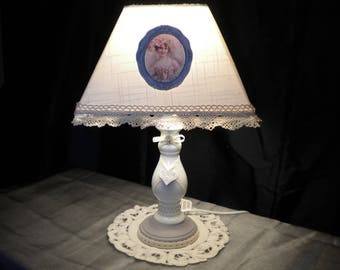 LAMP HAS PUT SHABBY ROMANTIC WALK IN PORCELAIN AND WOOD 40 CM