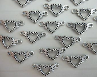 Lot 5 connectors in silver hearts charms