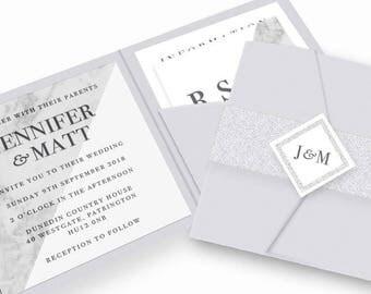 Marble Pocketfold Wedding Invitation Bundle | Wedding Stationery | Bride to be | Tumblr Wedding | Foiled Invitations | Pocketfold Invites