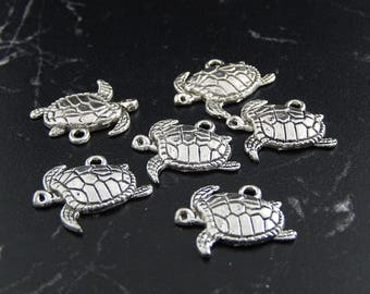 4 charms antique silver turtle