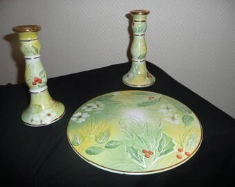 Beautiful set of round dish and candle holders, Holly and mistletoe pattern: hand painted porcelain