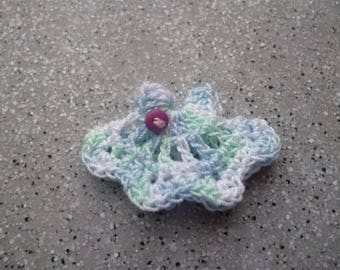 Applied miniature, mini dress white dress and blue sky cotton crochet handmade