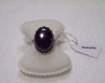 cabochon hematite ring