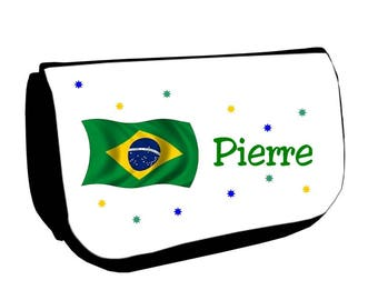 Cosmetic case Black /crayons Brazil personalized with name