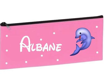 Personalized with name pink Dolphin School Kit