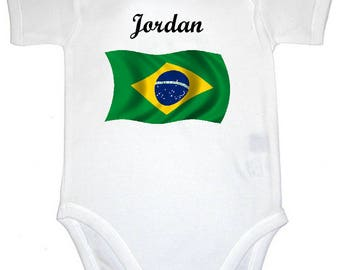 Brazil flag personalized with name baby Bodysuit