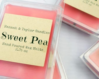 Sweet Pea Wax Melt   Handmade Wax Melts   Floral Flower Scented Wax Tart   Sweet Pea Scented Wax Melt   Handmade Wax Tart