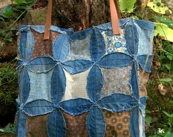 Denim and blue-Brown patchwork fabric tote bag